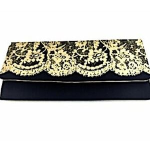 Avon Clutch Evening Bag Envelope Black Gold Satin